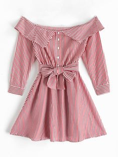 Off Shoulder Buttons Striped Belted Dress - Source by blueskysix - Look Fashion, Fashion Outfits, Dress Fashion, Modern African Print Dresses, Elegant Dresses, Casual Dresses, Sleeves Designs For Dresses, Cute Comfy Outfits, Belted Shirt Dress
