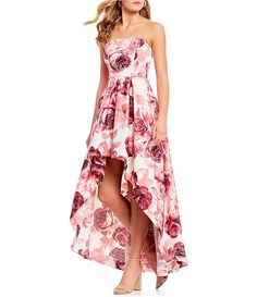 8317a1c2a76 Xtraordinary Strapless Floral Print Long High-Low Dress