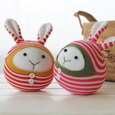 Kawaii Cute Round Sock Bunnies DIY Craft Kit, Sock Animals, Plush Animals, Babies & Children-Friendly, Handmade Home Decor, Handmade Gifts