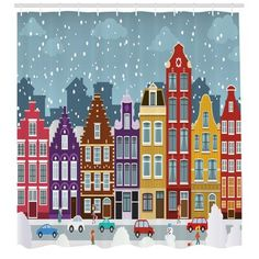 East Urban Home Ambesonne Amsterdam Shower Curtain, Dutch Town In The Winter Historical Apartments Snowy Christmas Eve Noel Theme, Cloth Fabric Bathro - Decoration Fireplace Garden art ideas Home accessories Christmas Town, Christmas Scenes, Christmas Art, House Illustration, Christmas Illustration, Illustrations, Town Drawing, House Drawing, Amsterdam Houses