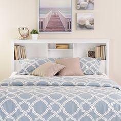 Amazon.com - Prepac Monterey White Queen Storage Headboard - Bedroom Armoires