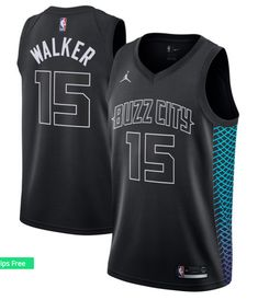 Men's Charlotte Hornets Kemba Walker Jordan Brand Black Swingman Jersey - City Edition is in stock now at NBA Store and Guaranteed Authentic. Nba Uniforms, Sports Uniforms, Basketball Uniforms, Basketball Singlets, Pitt Basketball, Basketball Stuff, Basketball Quotes, Charlotte Hornets, Black Jordans