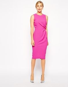 ASOS Pencil Dress in Crepe with Drape Detail - Pink