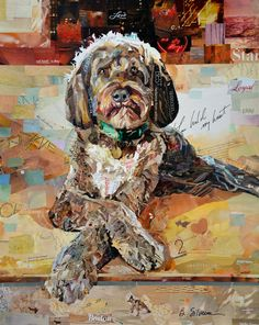 Boston Dog collage made from recycled magazines. Artist Betsy Silverman