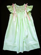 Girls Anavini Smocked Spring Green Party Portrait Bishop Dress Sz 2 Church
