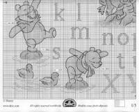 solo winnie the pooh Disney Cross Stitch Patterns, Cross Stitch Designs, Winnie The Pooh, Cross Stitch Alphabet, Pooh Bear, Disney Crafts, Cross Stitching, Needlework, Free Pattern