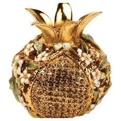 Ivory Floral Pomegranate Spice Box with Jewels