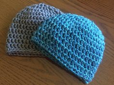 Blue and Charcoal Gray Crocheted Baby Beanies by WovenAndWorn