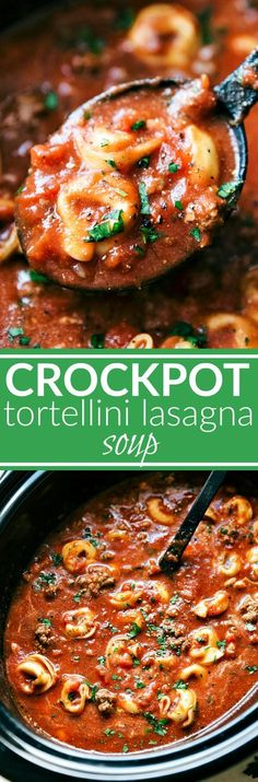 SLOW COOKER TORTELLINI LASAGNA! A crockpot lasagna soup made with cheese-filled tortellini. This soup is simple to make, tastes just like lasagna in soup form, and is a sure crowd pleaser! via chelseasmessyapro...