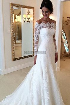 Scalloped Lace Chapel Train Trumpet Long Sleeves Wedding Dress - Shedressing.com
