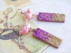 Pink Purple Ceramic Bird earrings Leaf earrings by CocoFlowerShop