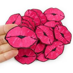 Lips Patch - Kiss Patch - Patches - Iron On Patch - Embroidered Patch - Hot Pink Girly Flirty
