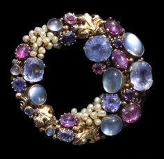 DORRIE NOSSITER Brooch   Silver Gold Moonstone Sapphire Ruby Seed Pearl  H: 5.3 cm (2.09 in)  W: 5 cm (1.97 in)  British, c.1930