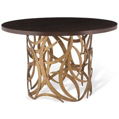 Porta Romana - CRT04L, Large Miro Centre Table - French Brass with Dark Fumed Oak Top