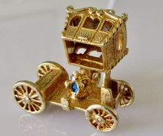 9ct Royal Coach and Crown Opening Charm or Pendant by TrueVintageCharms on Etsy