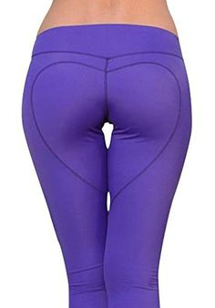 Heart Butt Yoga Leggings - Sexy Leggings - Yoga Pants - Purple (X-Small)