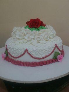 Simple red wedding cake