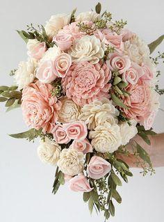 Blush Pink Teardrop Bridal Bouquet Mini Cascading Bouquet