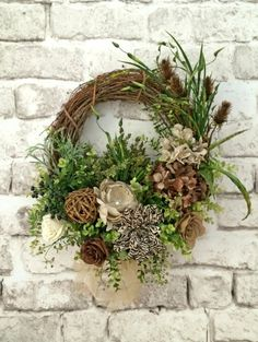 Silk and Burlap Wreath Fall Wreath for Door by AdorabellaWreaths, $163.00