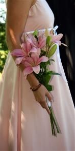 Long, simple bouquet...star lilies...my favorite