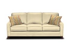 """Bassett Sofa (3/3 Custom Upholstery Small   Orig Price:$2,439 SALE $1,849 Product No: 8000-72F Dimensions H 39"""" , W 81"""" , D 39"""" Details BACK TYPE:BOXED EDGE LOOSE BACK  BASE TYPE:TAPERED LEG  ACCENT PILLOW FABRIC:WOVEN GEOMETRIC FIESTA  FRINGE/CORD:NONE  CUSHION:STANDARD  BK : PILLOW FILLING MATERIAL  TRIM:NONE  WOOD FINISH:HEIRLOOM"""