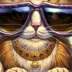 Cool Cat Painting// Cool Cat print // Cat with by JeffHaynieArt