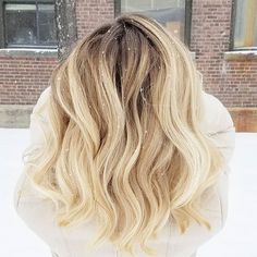 Trying to get the money shot in a snow storm.. love this shot!! Rootyblonde Balayage hilites with snowflakes on top!