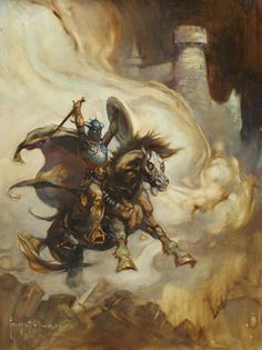 Illustration - The Lucas Museum of Narrative Art Frank Frazetta (Born 1928) Warrior on Steed c.1984 oil on canvas, 15.5 x 11.5