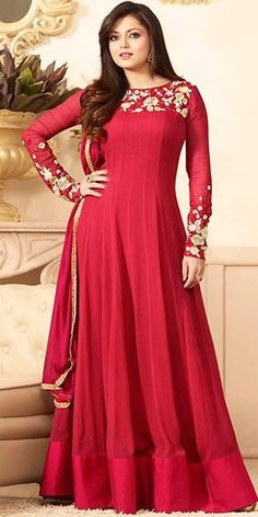Madhubala Georgette Red Anarkali Suit With Dupatta.