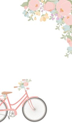 Hobby Kindle Aquarell Blumen und rosa Fahrrad Wallpaper von The Birch Cottage Bathtubs Modern Bathtu Bicycle Wallpaper, Frühling Wallpaper, Flower Background Wallpaper, Cellphone Wallpaper, Flower Backgrounds, Aesthetic Iphone Wallpaper, Cartoon Wallpaper, Wallpaper Backgrounds, Wallpaper Pink Cute