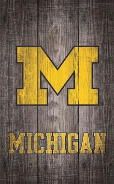 University of Michigan Wolverines Wall Art Distressed Gray Wood Plaque