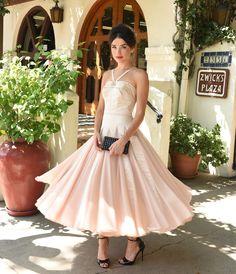 Iconic by UV Champagne Satin & Chiffon Dovima Ballerina Swing Dress - 1940s