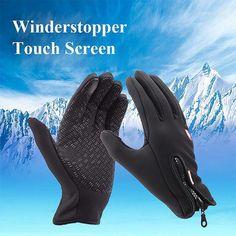 Women Men M L XL Ski Gloves Snowboard Motorcycle Riding Winter Touch Screen Snow Windstopper Glove Black S