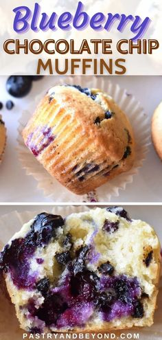 These delicious blueberry chocolate chip muffins are soft, moist and fluffy. You can make these easy muffins with fresh or frozen blueberries. It takes almost 30 minutes to make these homemade blueberry muffins from preparing the batter to baking! They are perfect for breakfast or as a snack or a dessert! Homemade Blueberry Muffins, Blueberry Chocolate, Chocolate Chip Muffins, Blackberry Recipes, Easy Sweets, Small Desserts, Easy Baking Recipes, Frozen Blueberries, Blue Berry Muffins