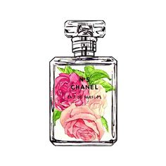 Chanel No 5 Vintage Style Art Print, Watercolor Illustration by Lady... ($10) ❤ liked on Polyvore featuring home, home decor, wall art, makeup, pictures, sketch, framed wall art, pink home decor, photo wall art and photo illustration