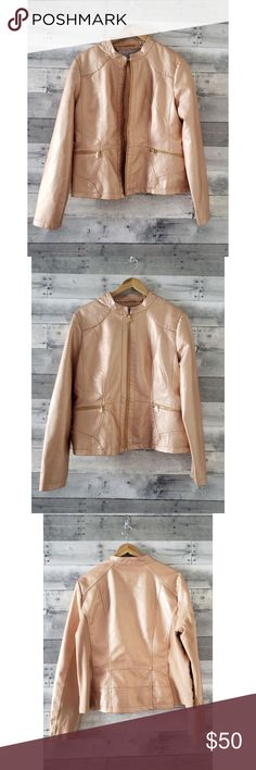 ANDREW MARC Rose Gold Faux Leather Jacket Gorgeous rose gold faux leather jacket from Marc New York by Andrew Marc. Knit inserts on side and under sleeve give added comfort and flexibility. Very soft and polished looking. Size tag was cut out, but is a women's XL.  Material: Cruelty free Polyurethane/Viscose/Cotton/Spandex   Size: XL (will fit a large loosely and an xlarge true to size)  Extremely well cared for in excellent condition. Andrew Marc Jackets & Coats