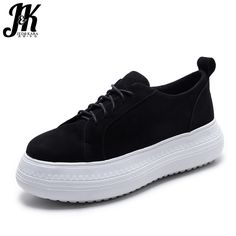 J&K 2017 New Genuine Leather Cow Suede Women's Vulcanize Shoes Fashion Falt Brand Women Shoes Thick Sole Platform Casual Shoes