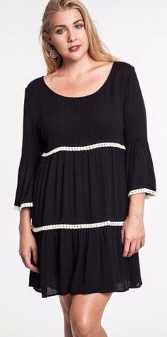Bell sleeve black dress plus size