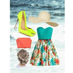 aller a la plage by sarah-lopez-2 on Polyvore featuring polyvore fashion style Christian Louboutin MICHAEL Michael Kors Topshop