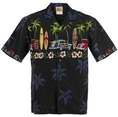 3afc11f7 Black Classic Woody Hawaiian Aloha Shirt Vintage Hawaiian Shirts, Mens  Hawaiian Shirts, Hawaii Style