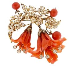 19th Century Carved Coral Brooch