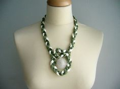 Green and Ivory  Satin cord and colors necklace by stavroula, $20.00