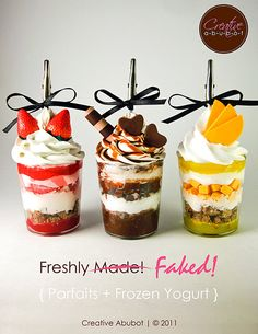 To Purchase:  Tutorial - How to Make Fake Parfaits and Frozen Yogurt place holders/centerpiece decorations!  Sellable. $9.95, via Etsy.