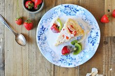 Triple Coconut Tres Leches Cake with Honey-Vanilla Summer Fruit recipe | Q Squared NYC Cambridge Rose Collection