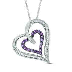 Zales Amethyst Motherly Love Heart Pendant in Sterling Silver 1ODuQ