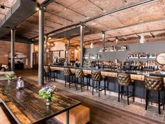 Titanic Hotel Liverpool Disused Industrial Warehouse converted to contemporary Hotel. Industrial & Rustic Interior, Industrial Interiors, Rustic Interiors, Industrial Design, Titanic, Restaurant Design, Restaurant Bar, Liverpool, Industrial Wedding Venues
