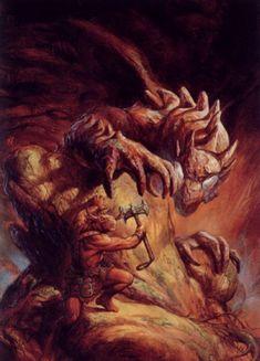 Dragonlance, Heroes, Kaz the Minotaur by Jeff Easley.