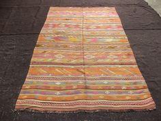 "Turkish Kilim Rug,5,4""x8,1"" Feet 162x248 Cm Colorful Handmade Vintage Turkish Kilim Rug,Traditional Kilim Rug,Area Kilim Rug."