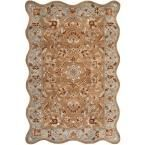 Heritage Beige/Blue 6 ft. x 9 ft. Scalloped Area Rug #AreaRugs