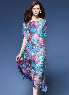 Hodváb Kvetinové Polovičné rukávy Mid-Teľa Elegantné Šaty (1034302) @ floryday.com